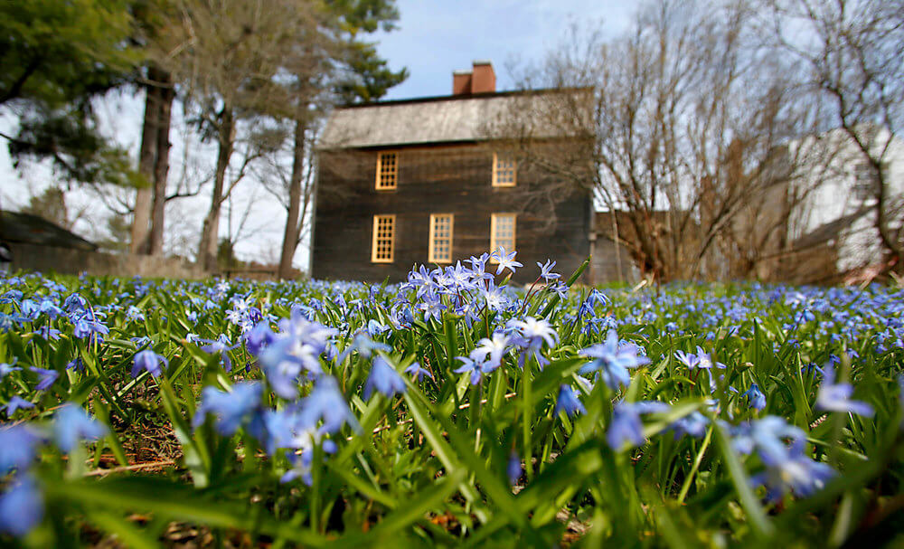 Architectural Photography of The Tate House in Portland, Maine with Flowers budding