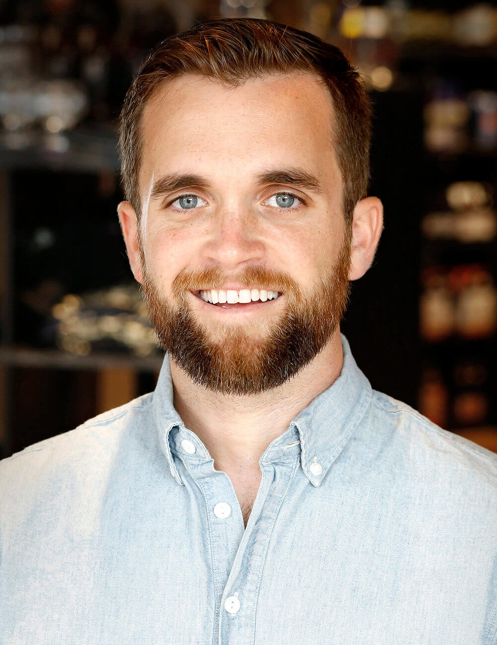 Headshot of Sean Sullivan, executive director of the Maine Brewers' Guild, at the Craft Beer Cellar in Portland