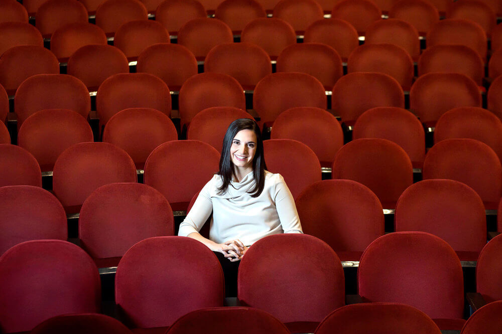 Portrait photography of Carolyn Nishon, executive director of the Portland Symphony Orchestra, at the Merrill Auditorium Portland Maine