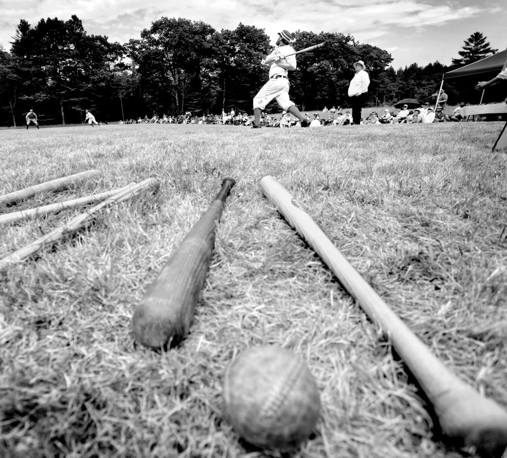 Maine photography of old time baseball players during a game at a Freeport Maine farm event