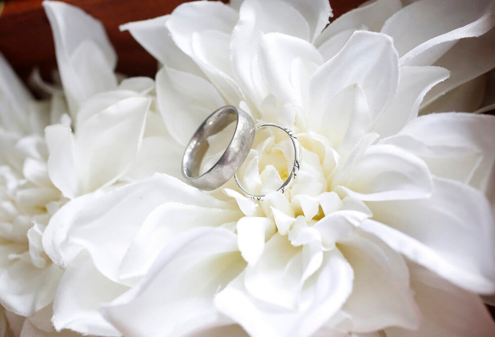 Close-up of the wedding rings on white flowers