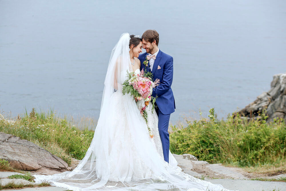 Wedding photography of the bride and groom along the Maine coast