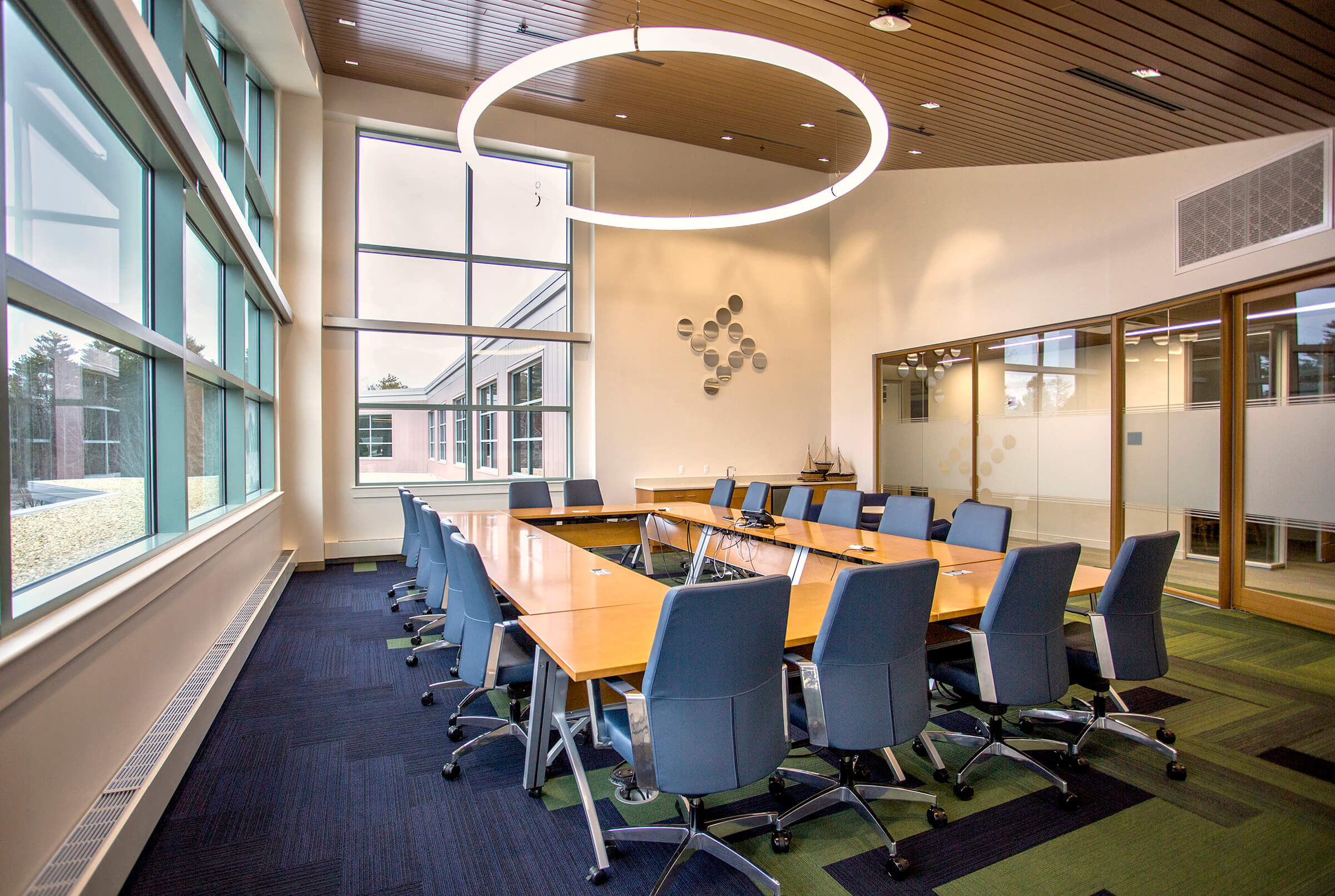 Architectural Photography of Tyler Technologies, conference room with glass in Yarmouth, Maine