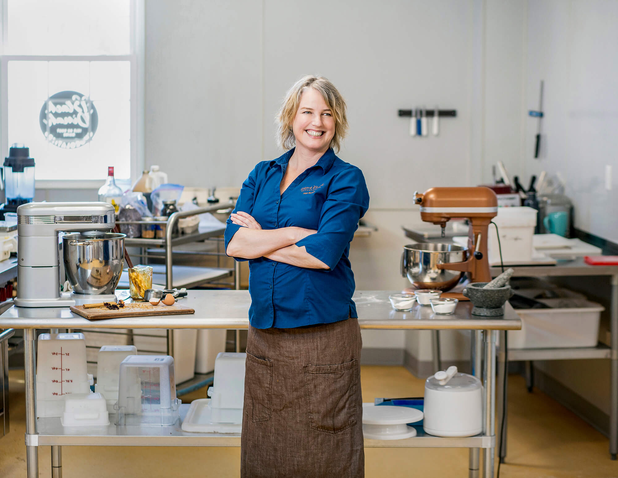 Portrait photography of Kate Shaffer of Black Dinah Chocolatiers in Westbrook Maine