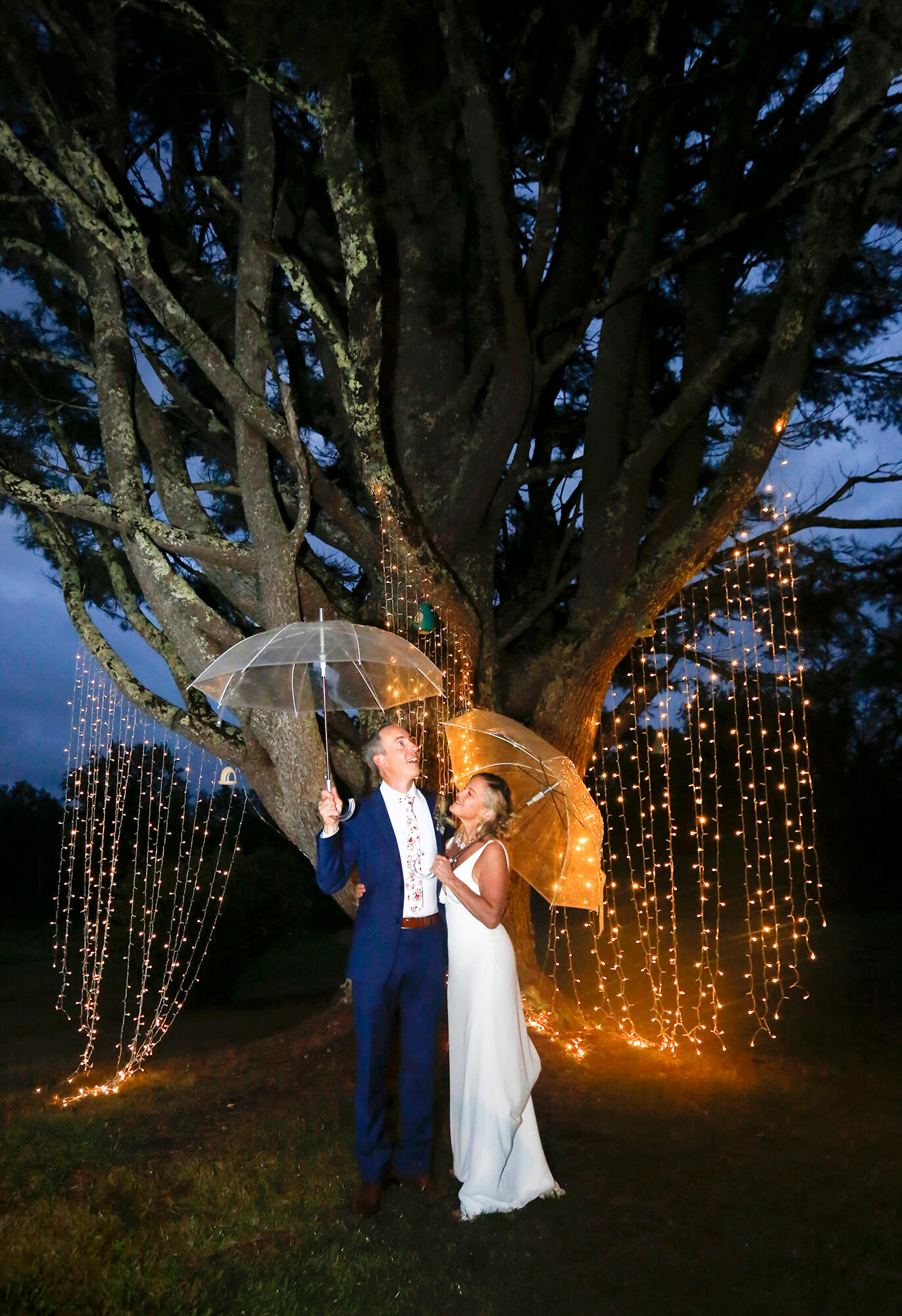 Wedding photography of a couple holding umbrellas at night under a large tree with lights