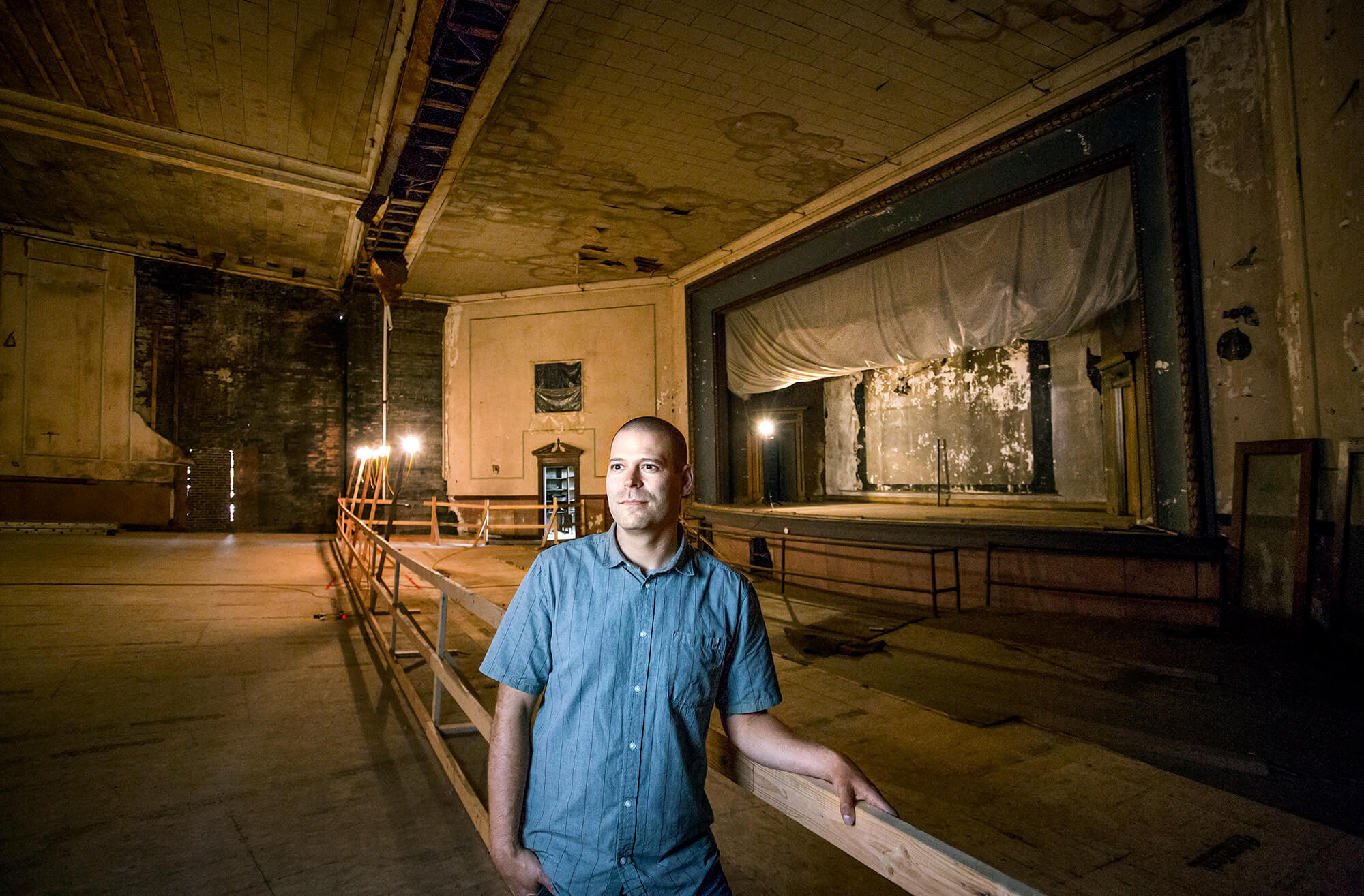Portrait photography of Tobias Parkhurst in the Colonial Theater in Augusta  Maine