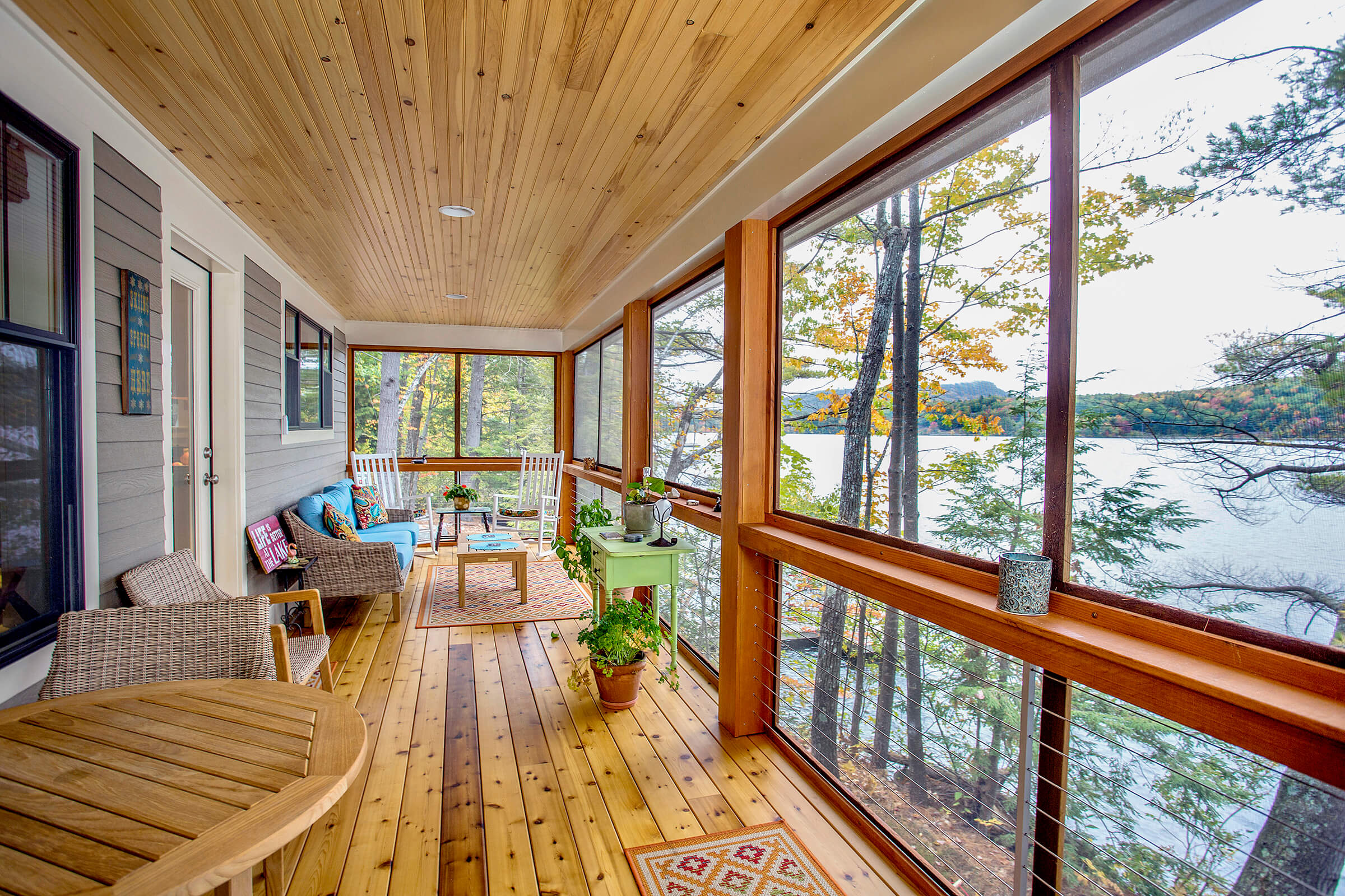 A porch on Sebago Lake Maine Architectural Photography