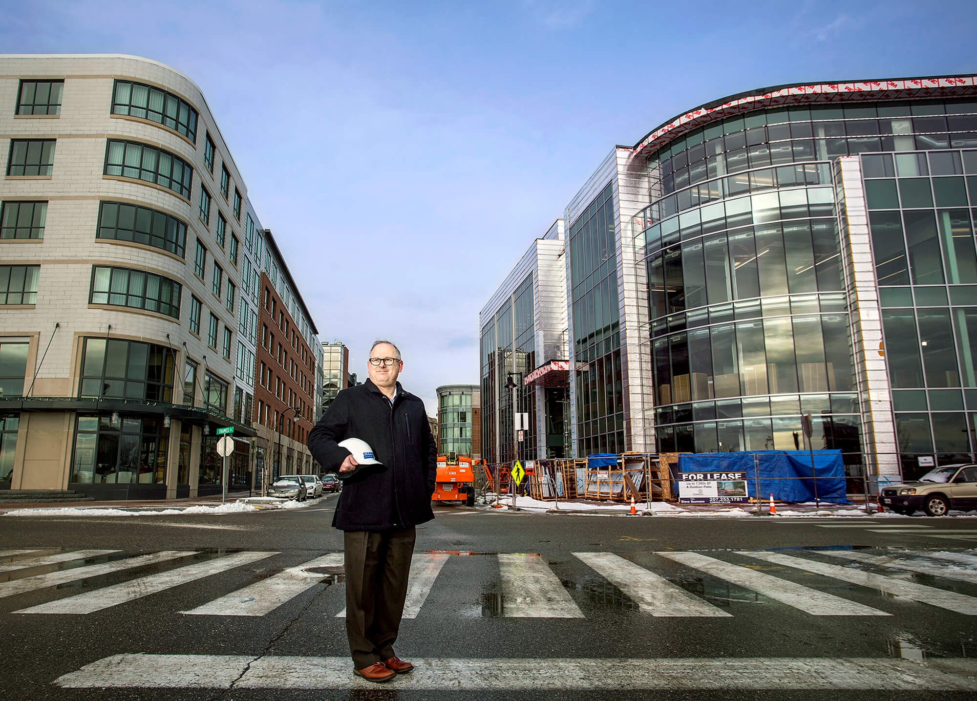 Portrait photography of Richard Brescia, vice president of Cianbro Corp., near the new WEX headquarters