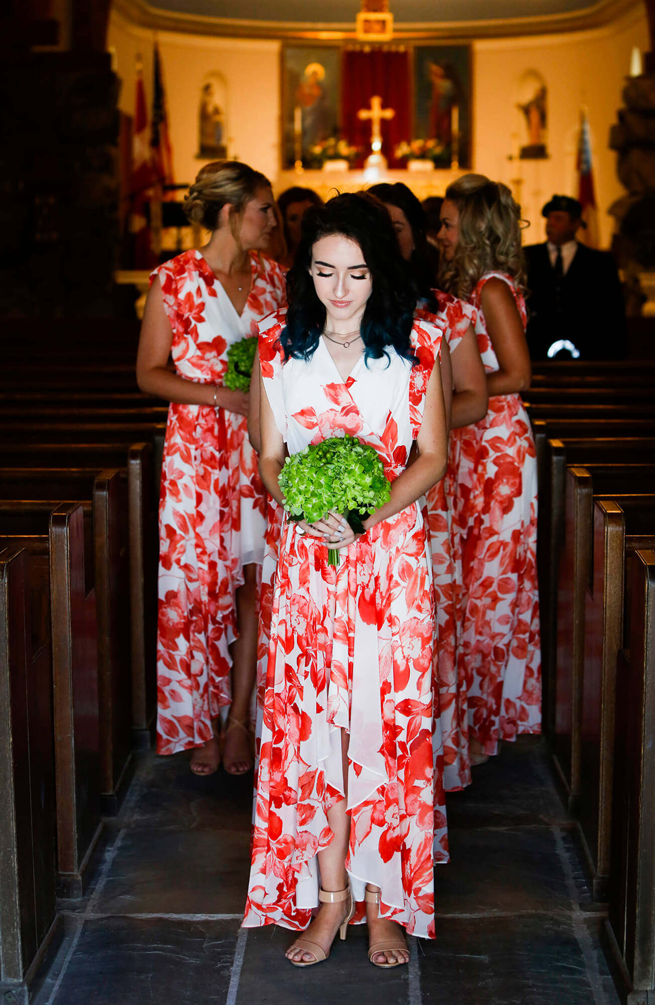 Wedding photography of bridesmaid in the church before the wedding in Kennebunk Maine