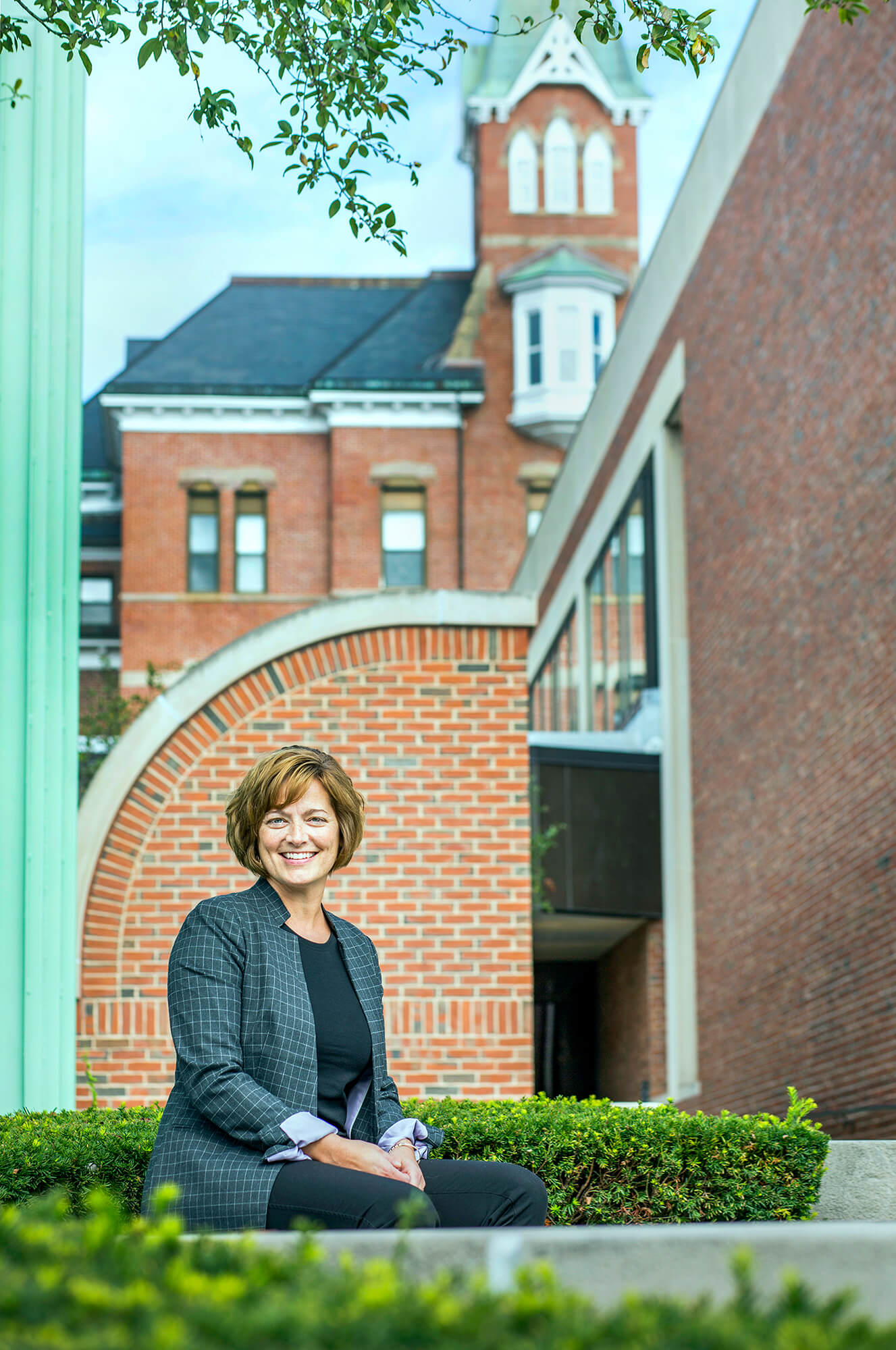 Portrait photography of Jennifer O'Leary, Center for Workforce Development at MaineHealth, outside of Maine Medical Center in Portland