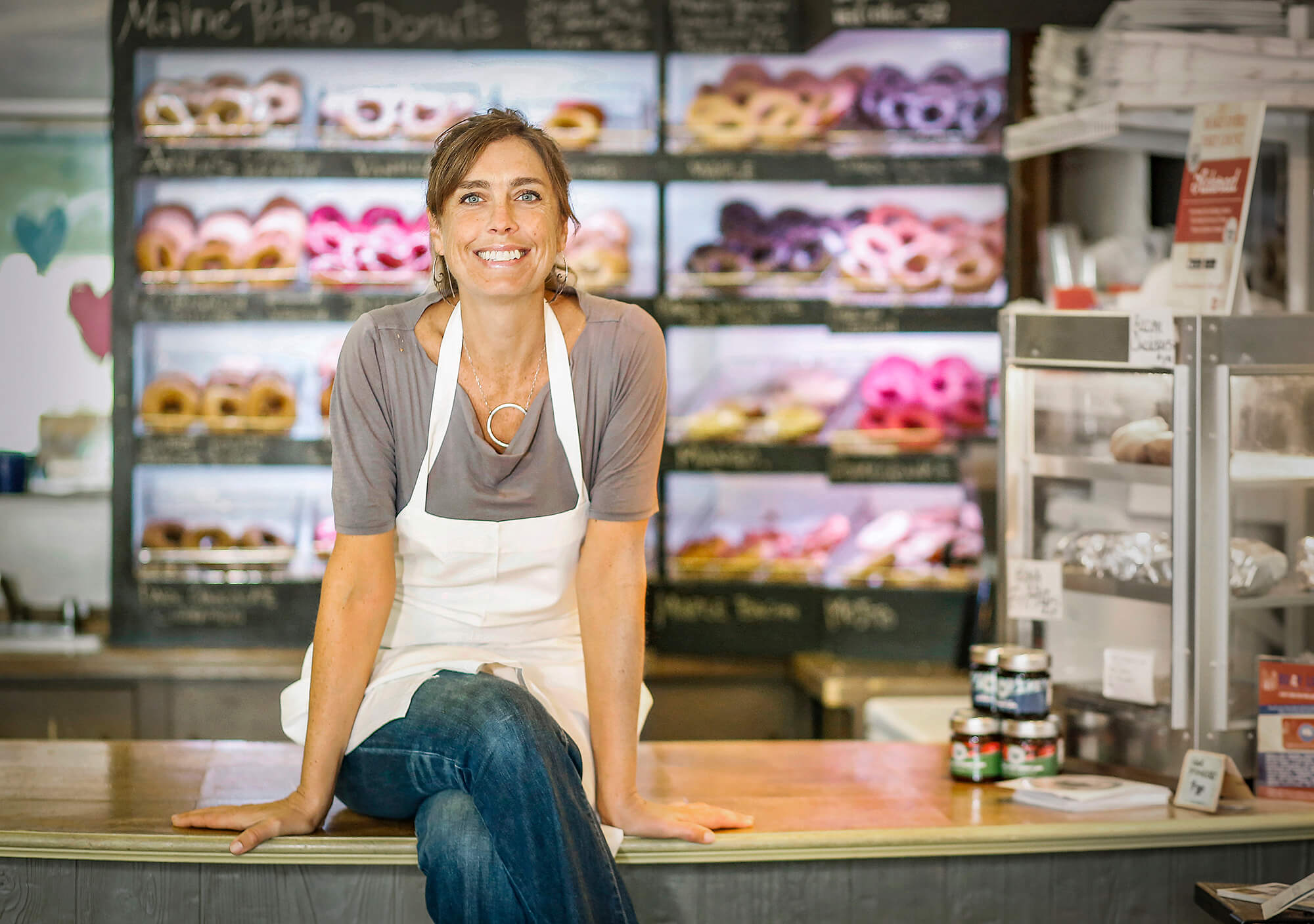 Portrait photography of Leigh Kellis owner of The Holy Donut in Portland Maine